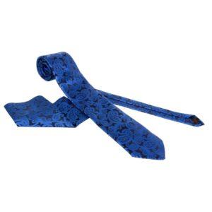 plava kravata sa maramicom, tamno plava kravata sa sarom, kravata za svecane prilike, za odelo, kravata za svecani dogadjaj